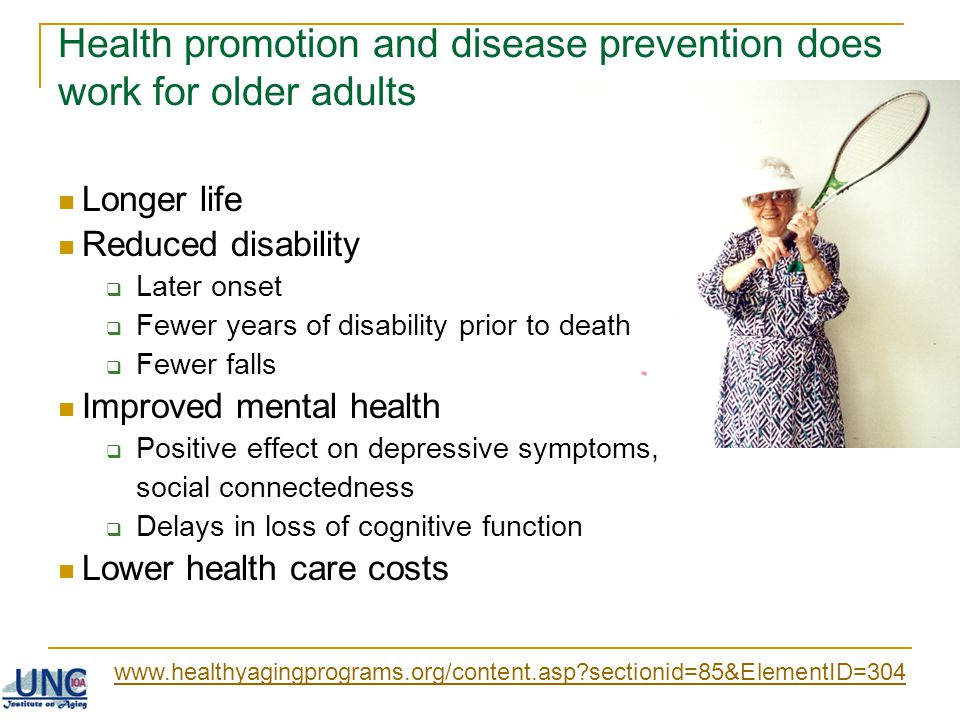 Health promotion and disease prevention does work for older adults