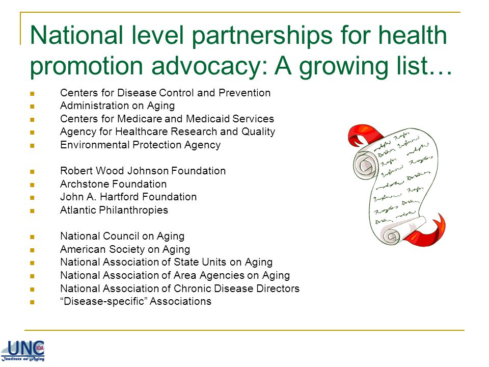 National level partnerships for health promotion advocacy: A growing list…