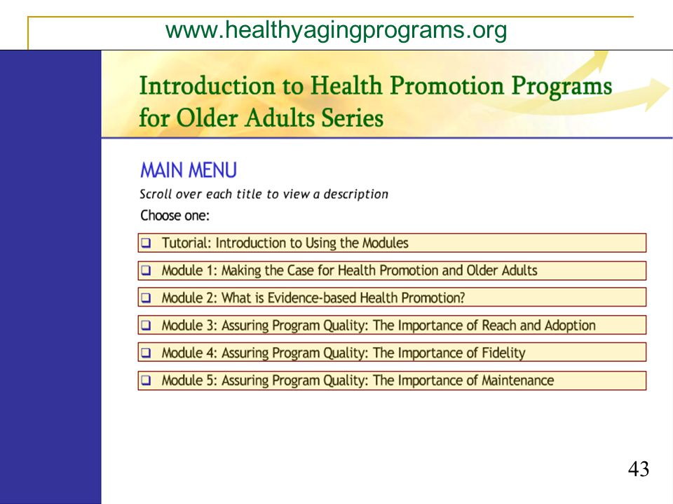 www.healthyagingprograms.org 43