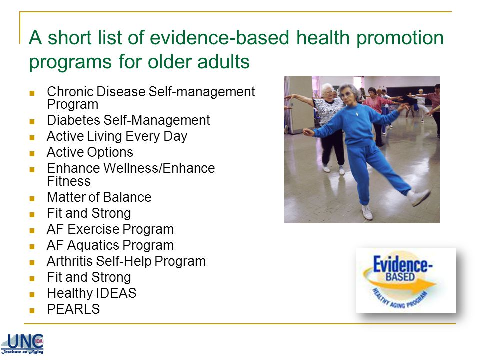 A short list of evidence-based health promotion programs for older adults