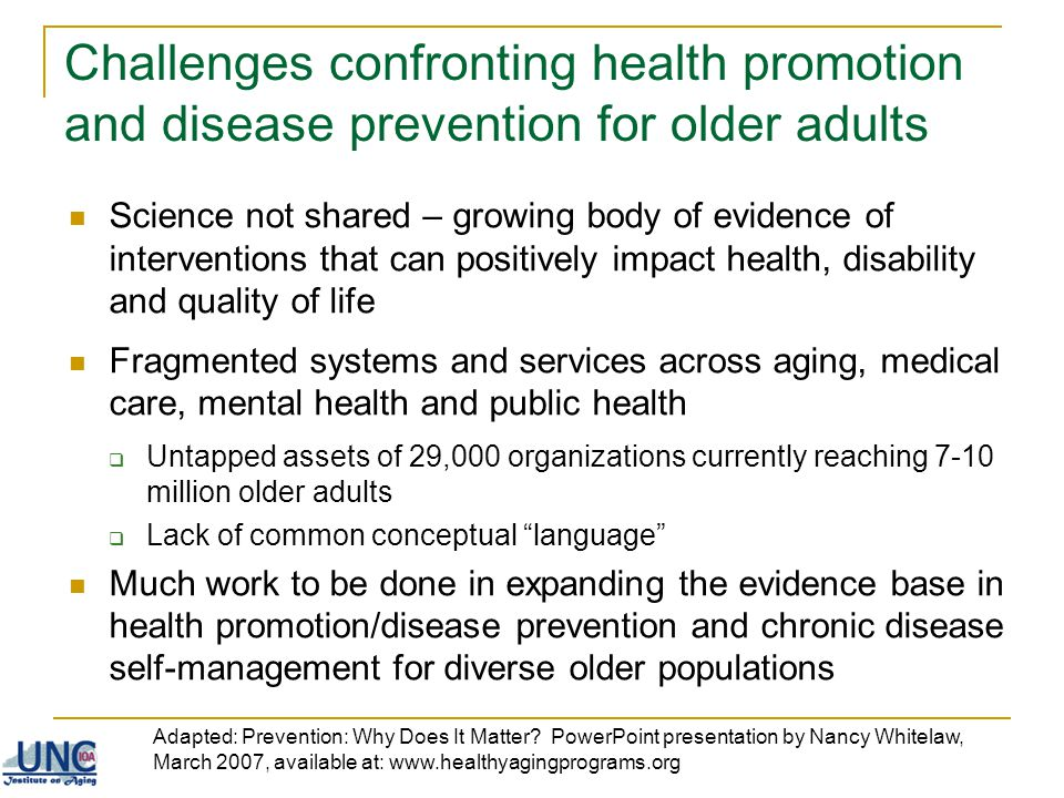 Challenges confronting health promotion and disease prevention for older adults