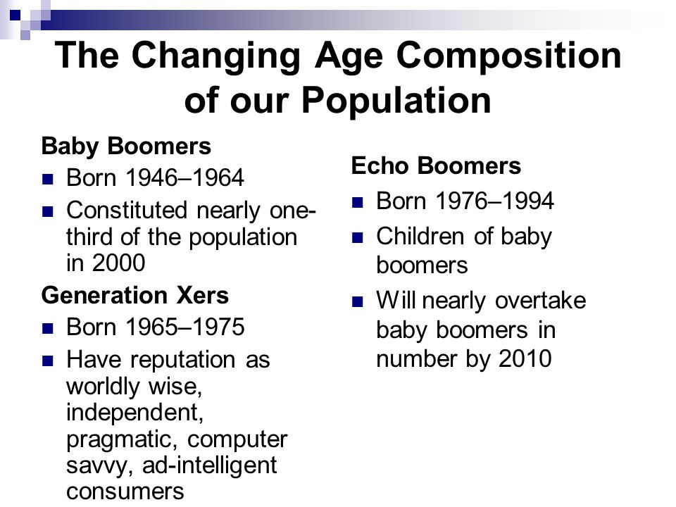 The Changing Age Composition of our Population