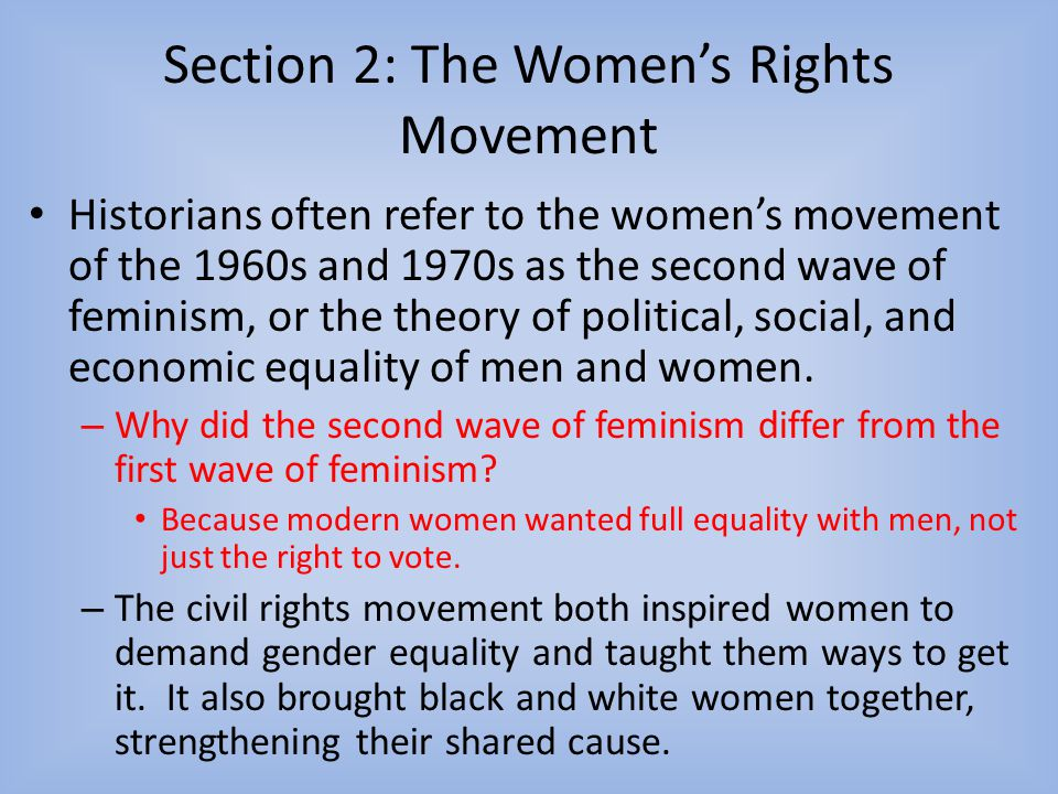 Section 2: The Women's Rights Movement
