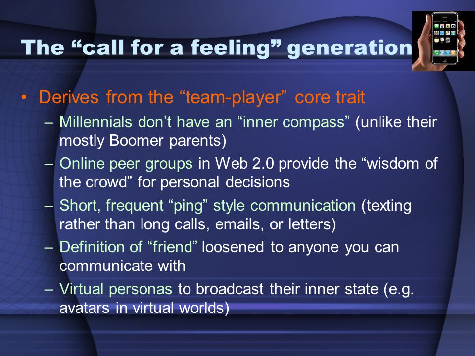 The call for a feeling generation