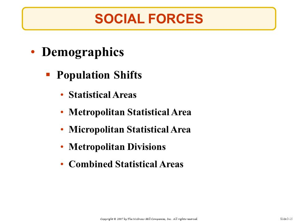 SOCIAL FORCES Demographics Population Shifts Statistical Areas