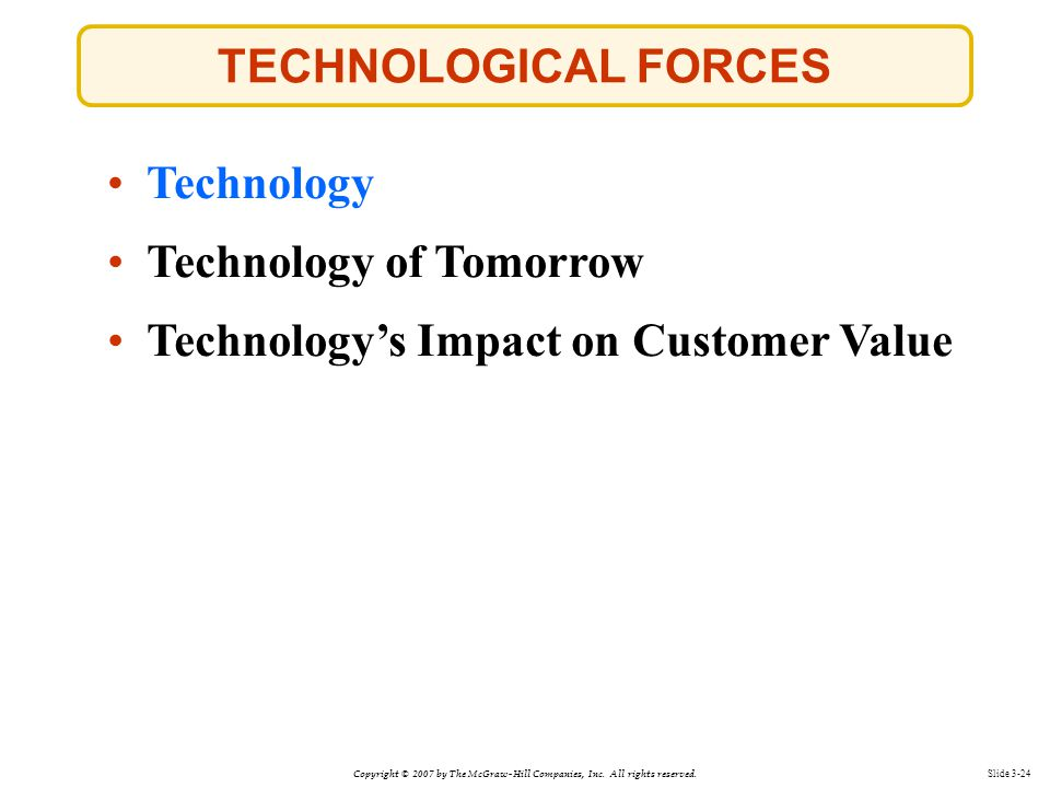 TECHNOLOGICAL FORCES Technology Technology of Tomorrow Technology's Impact on Customer Value