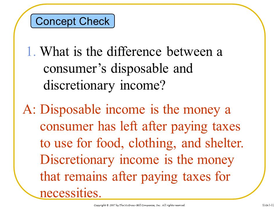 Concept Check 1. What is the difference between a consumer's disposable and discretionary income