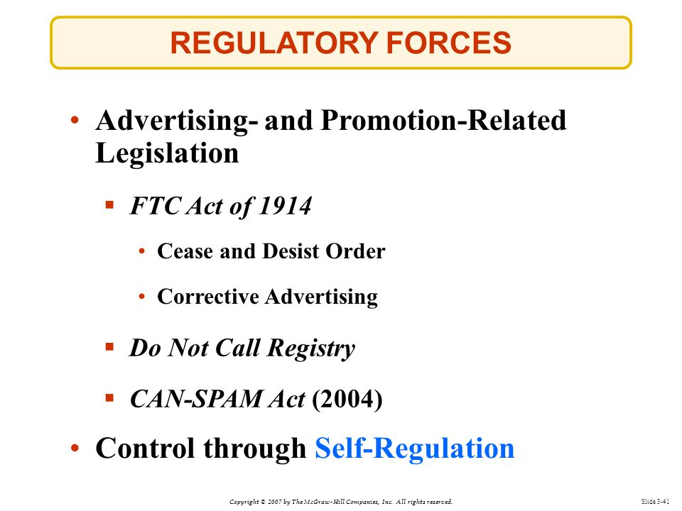 Advertising- and Promotion-Related Legislation
