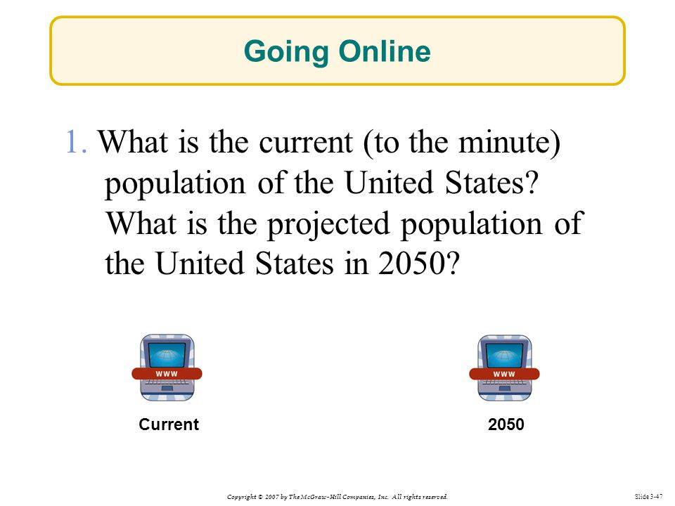 Going Online 1. What is the current (to the minute) population of the United States What is the projected population of the United States in 2050