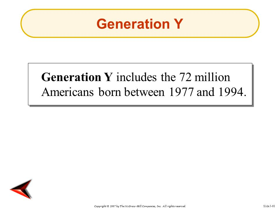 Generation Y Generation Y includes the 72 million Americans born between 1977 and 1994.