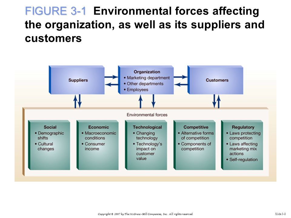 FIGURE 3-1 Environmental forces affecting the organization, as well as its suppliers and customers