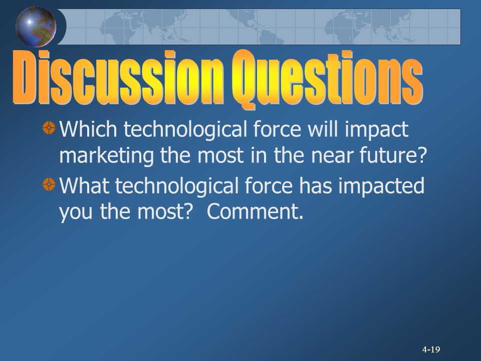 Discussion Questions Which technological force will impact marketing the most in the near future