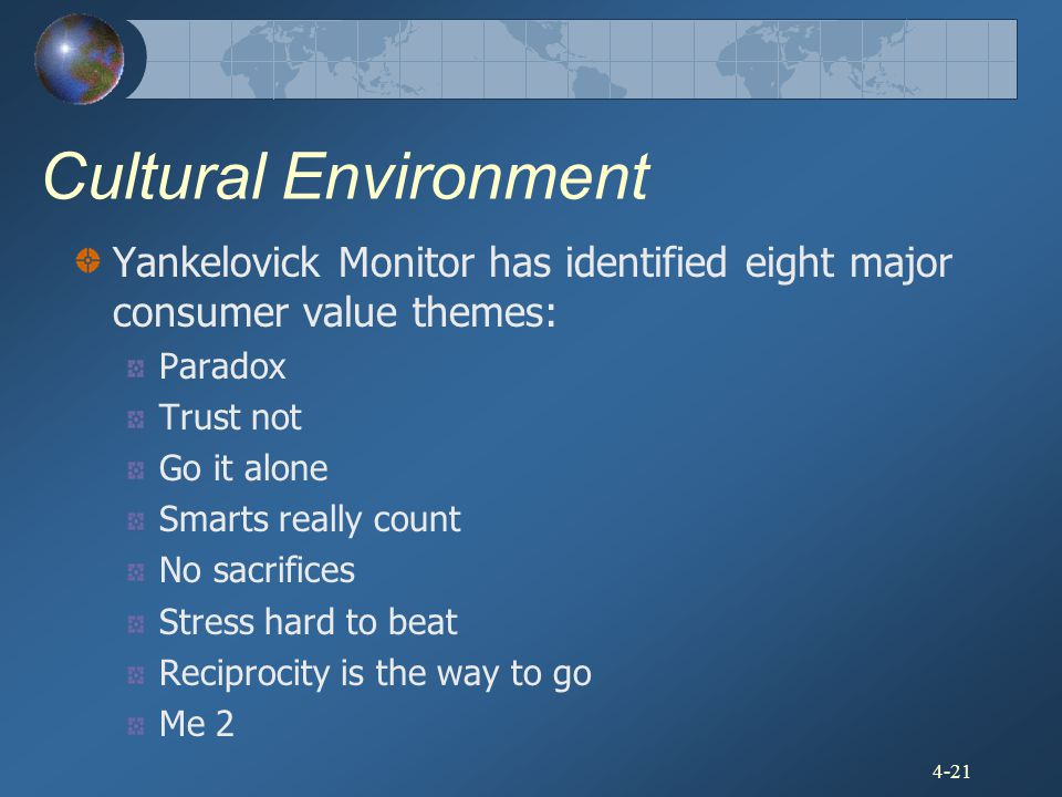 Cultural Environment Yankelovick Monitor has identified eight major consumer value themes: Paradox.
