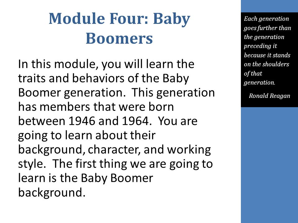 Module Four: Baby Boomers