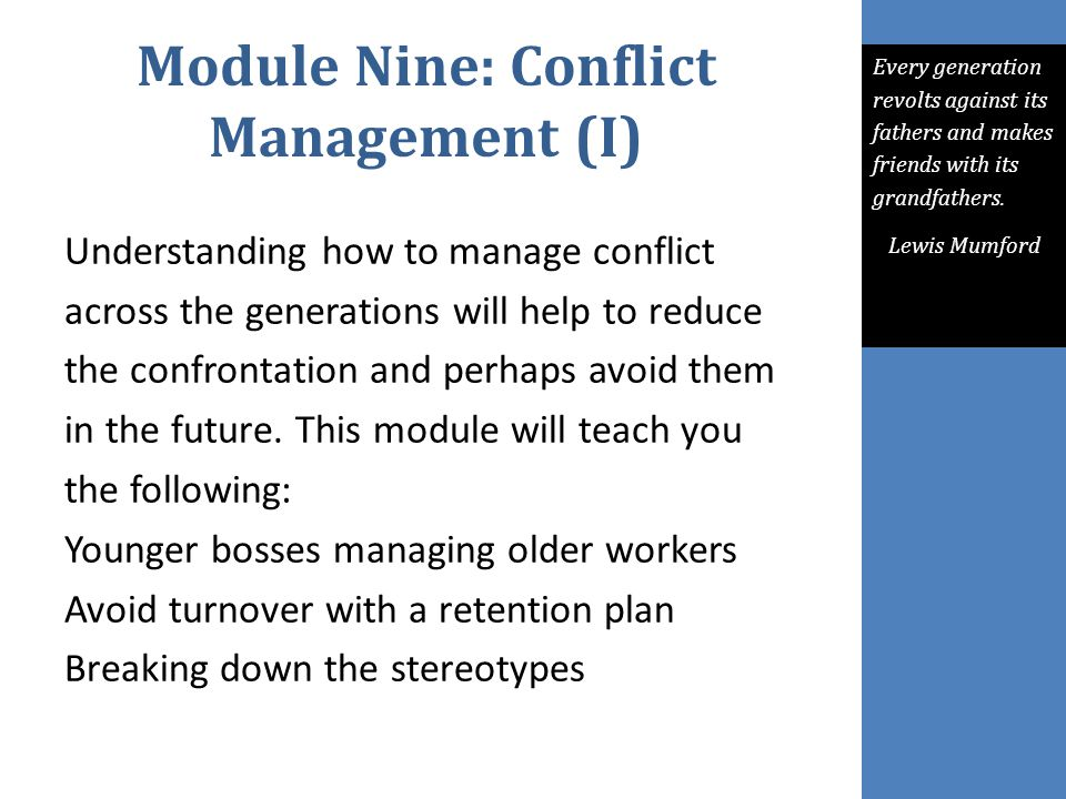 Module Nine: Conflict Management (I)