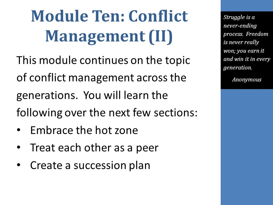 Module Ten: Conflict Management (II)