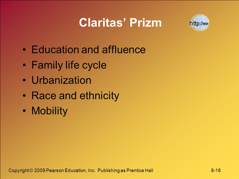 Claritas' Prizm Education and affluence Family life cycle Urbanization