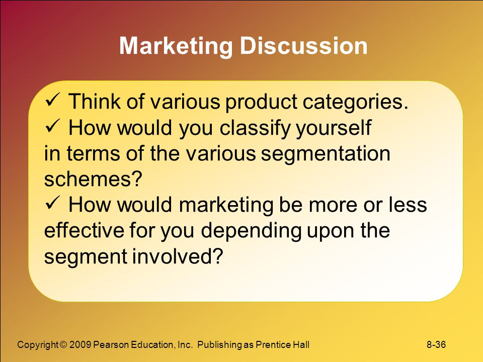 Marketing Discussion Think of various product categories.
