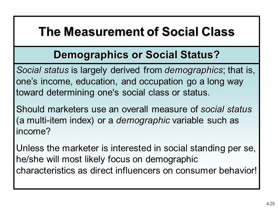 The Measurement of Social Class Demographics or Social Status