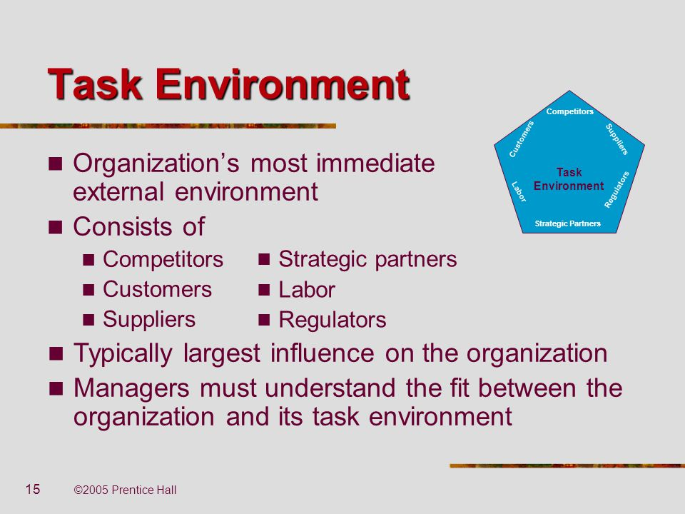 Task Environment Organization's most immediate external environment