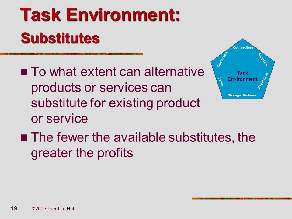 Task Environment: Substitutes