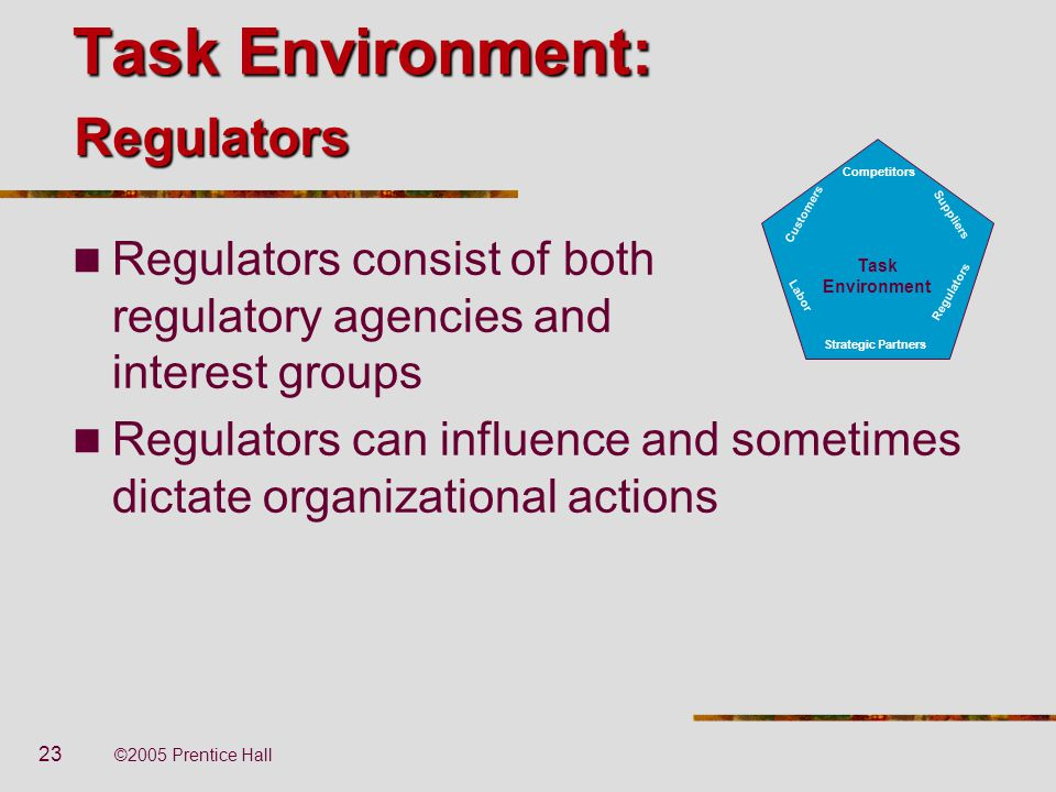 Task Environment: Regulators