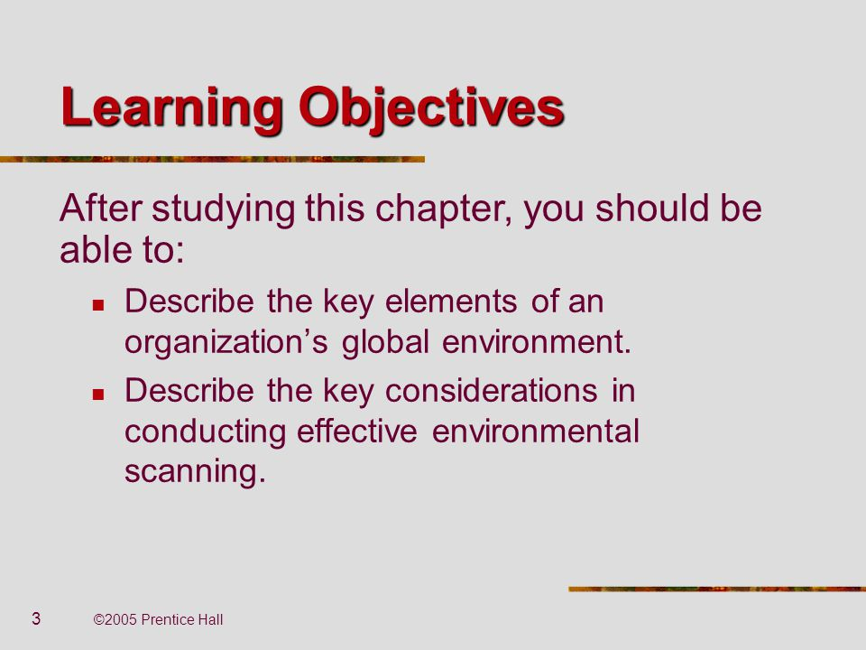 Learning Objectives After studying this chapter, you should be able to: Describe the key elements of an organization's global environment.