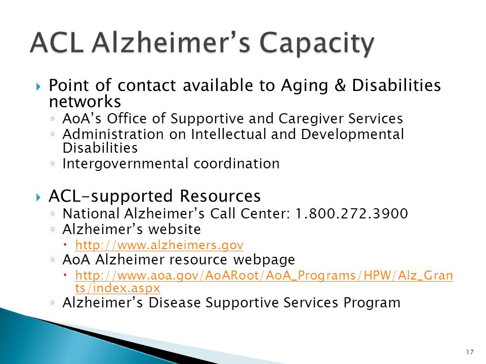 ACL Alzheimer's Capacity