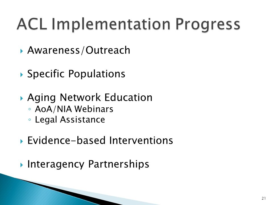 ACL Implementation Progress