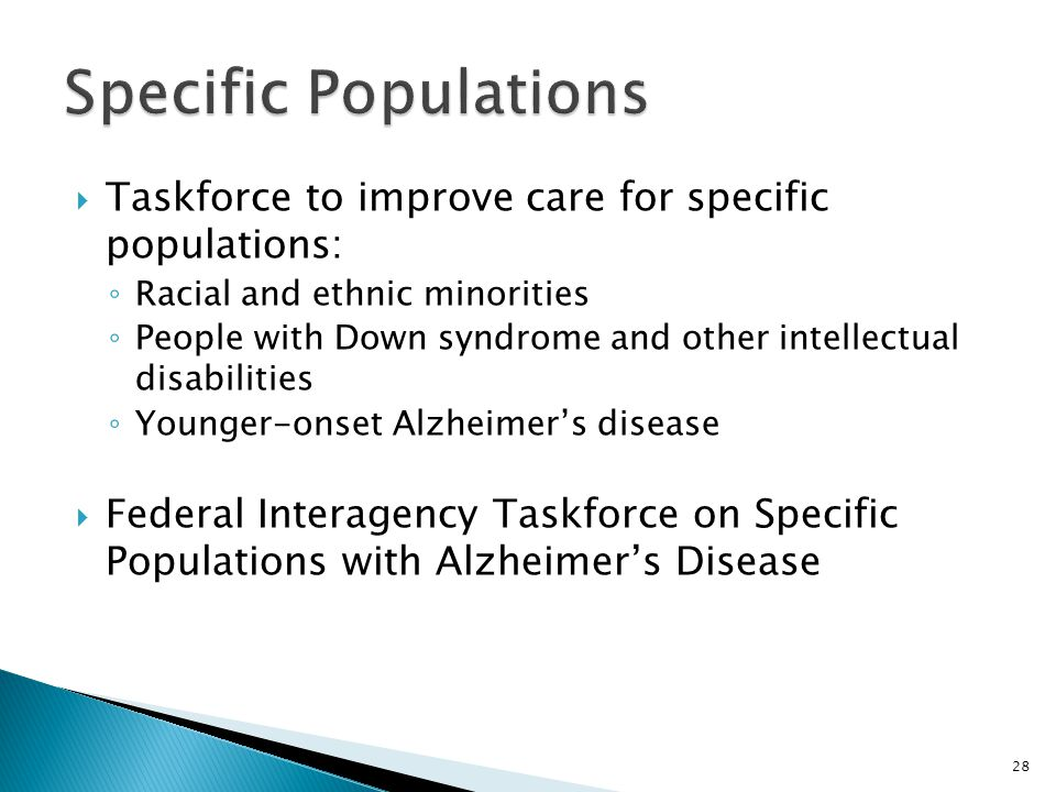 Specific Populations Taskforce to improve care for specific populations: Racial and ethnic minorities.