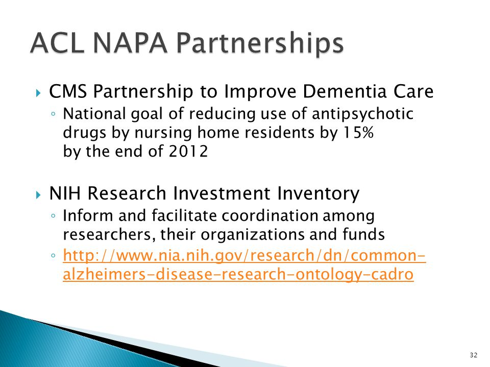 ACL NAPA Partnerships CMS Partnership to Improve Dementia Care