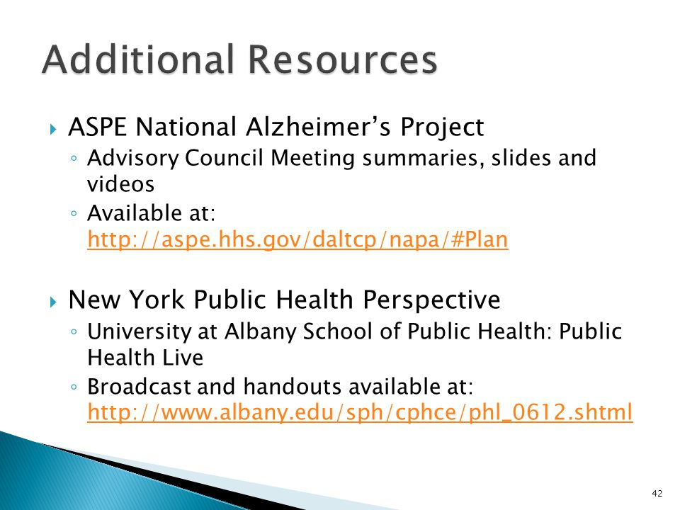Additional Resources ASPE National Alzheimer's Project