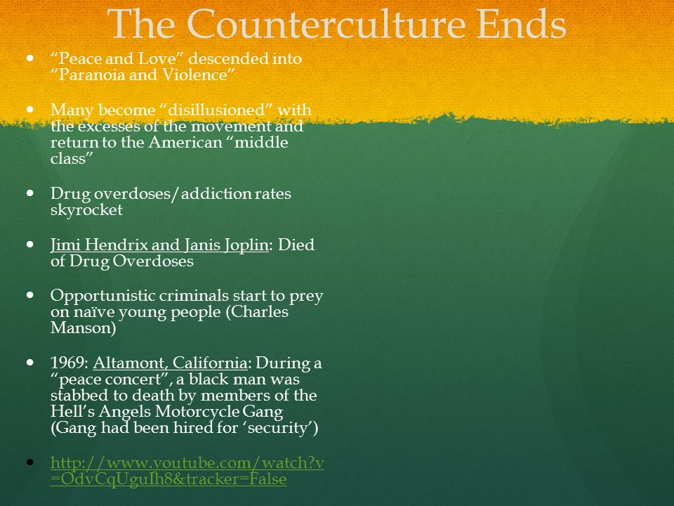 The Counterculture Ends