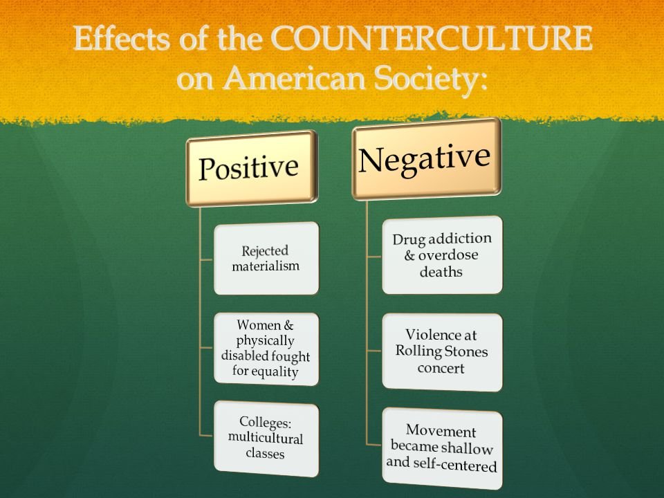 Effects of the COUNTERCULTURE on American Society: