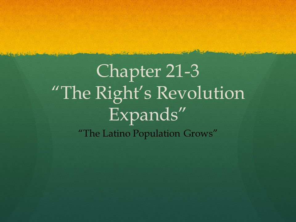 Chapter 21-3 The Right's Revolution Expands