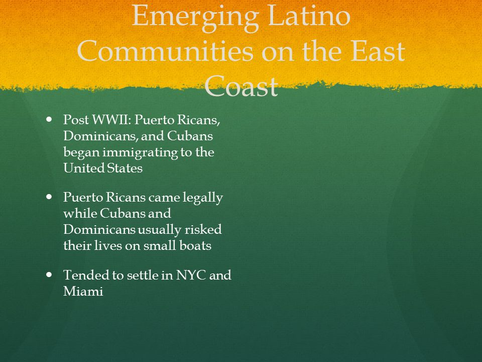 Emerging Latino Communities on the East Coast