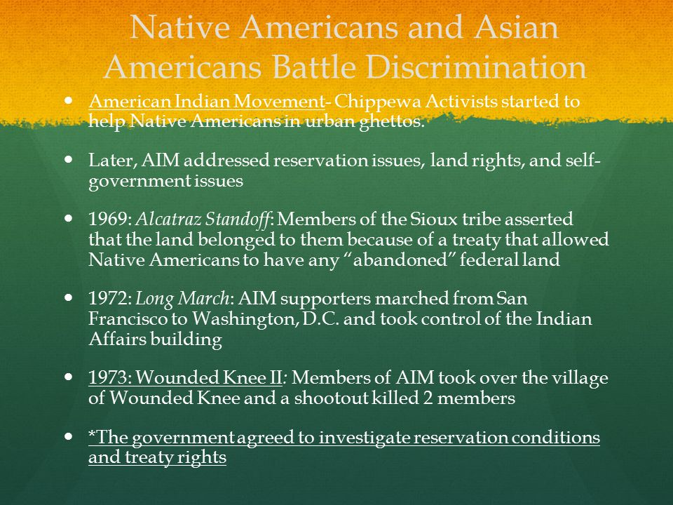 Native Americans and Asian Americans Battle Discrimination