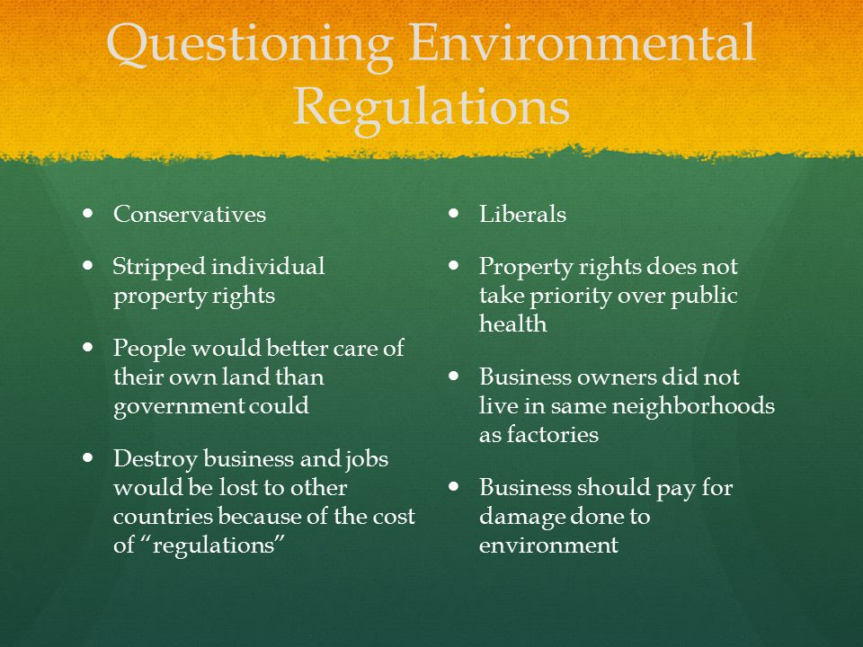 Questioning Environmental Regulations
