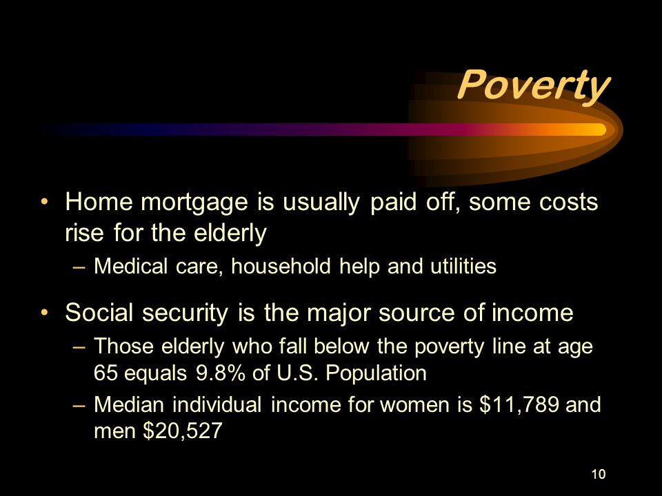 Poverty Home mortgage is usually paid off, some costs rise for the elderly. Medical care, household help and utilities.