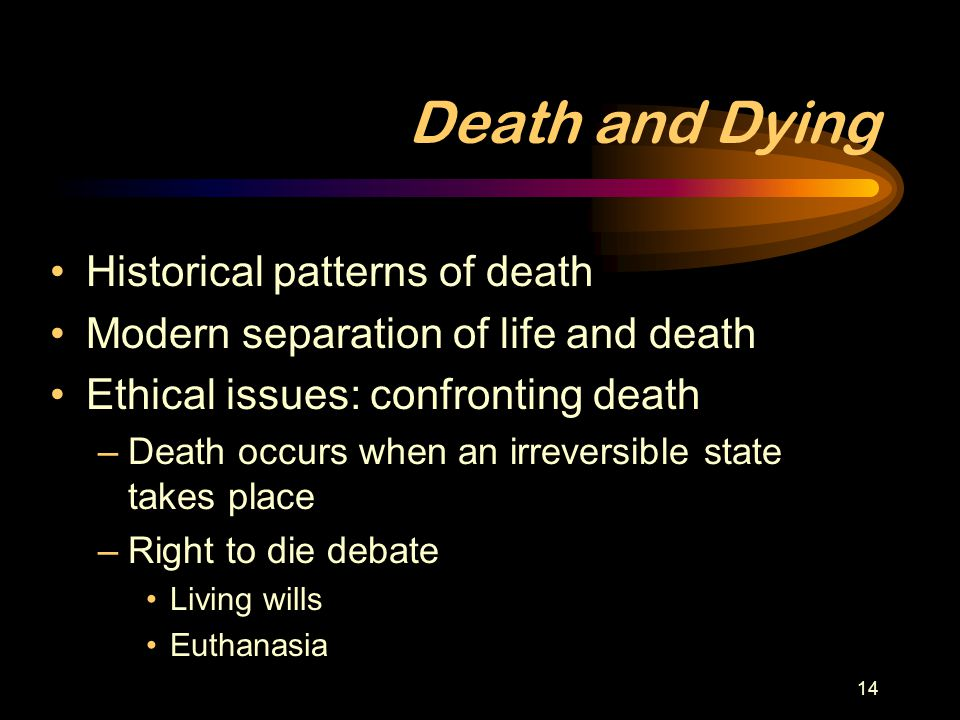 Death and Dying Historical patterns of death