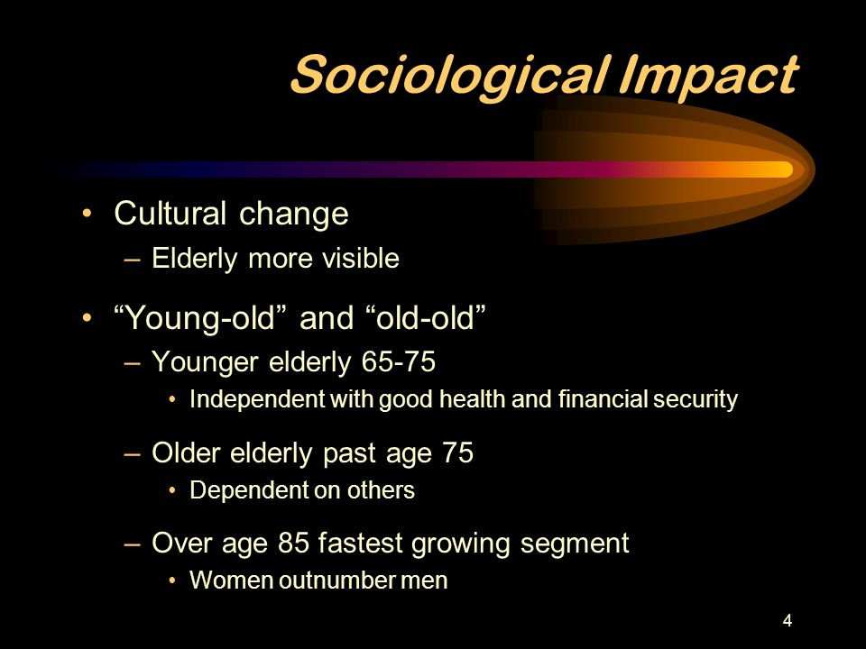Sociological Impact Cultural change Young-old and old-old