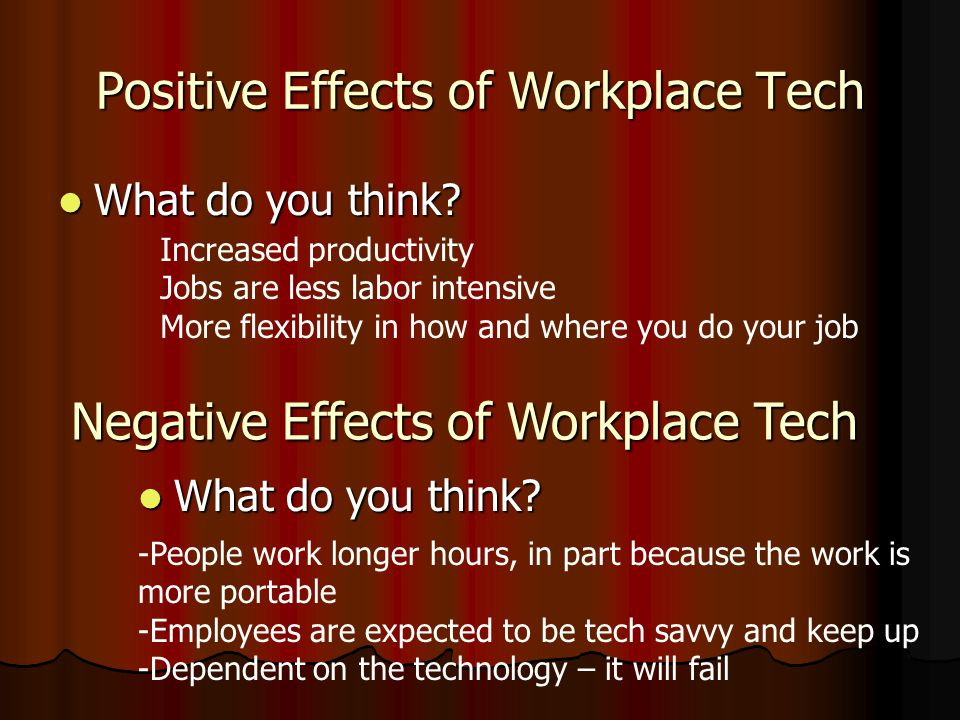 Positive Effects of Workplace Tech