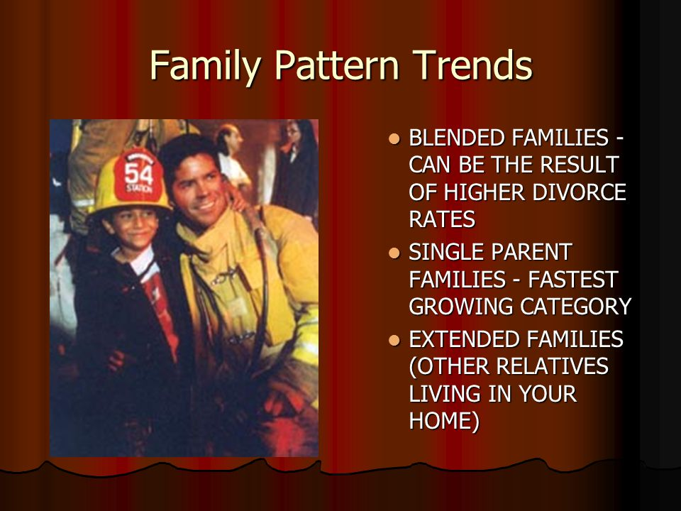 Family Pattern Trends BLENDED FAMILIES - CAN BE THE RESULT OF HIGHER DIVORCE RATES. SINGLE PARENT FAMILIES - FASTEST GROWING CATEGORY.
