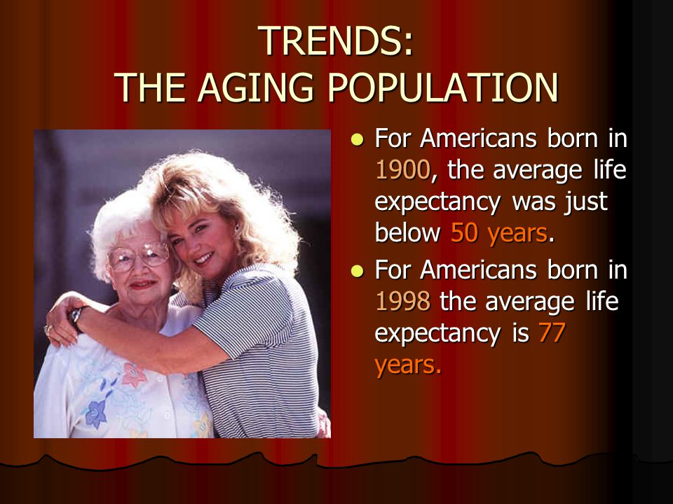 TRENDS: THE AGING POPULATION
