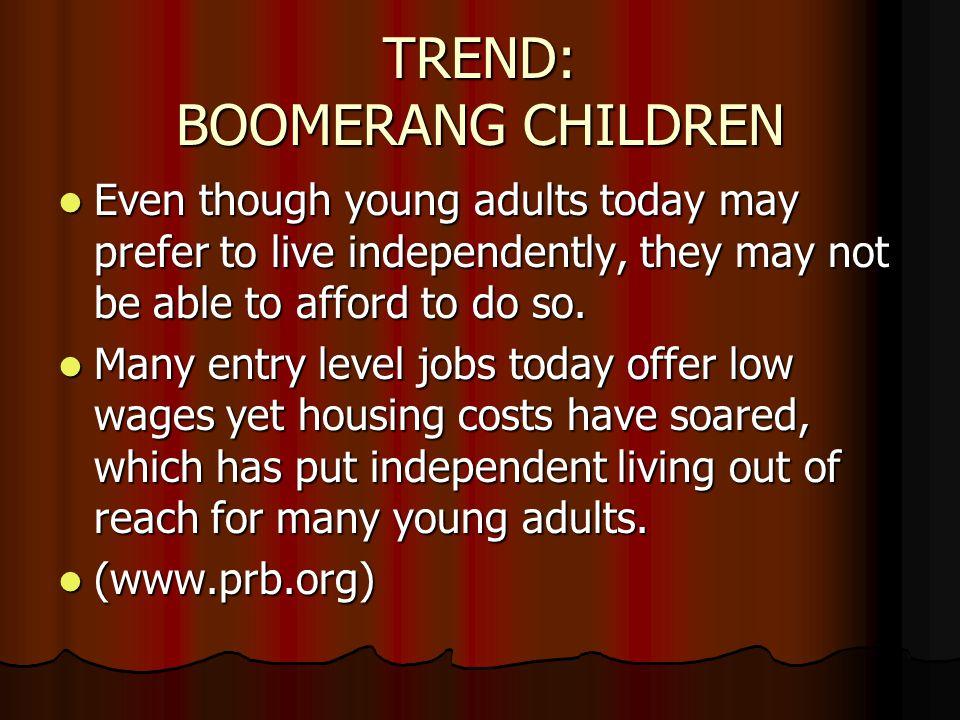 TREND: BOOMERANG CHILDREN