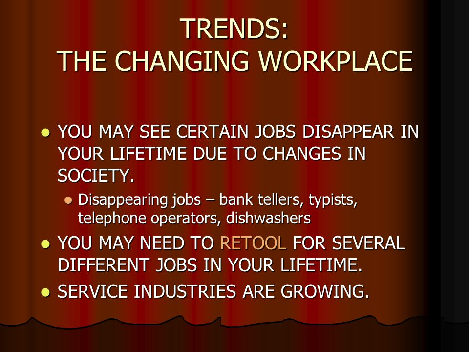 TRENDS: THE CHANGING WORKPLACE