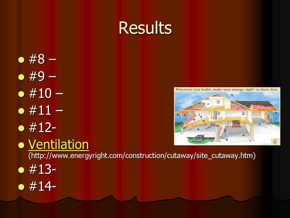 Results #8 – #9 – #10 – #11 – #12- Ventilation (http://www.energyright.com/construction/cutaway/site_cutaway.htm)