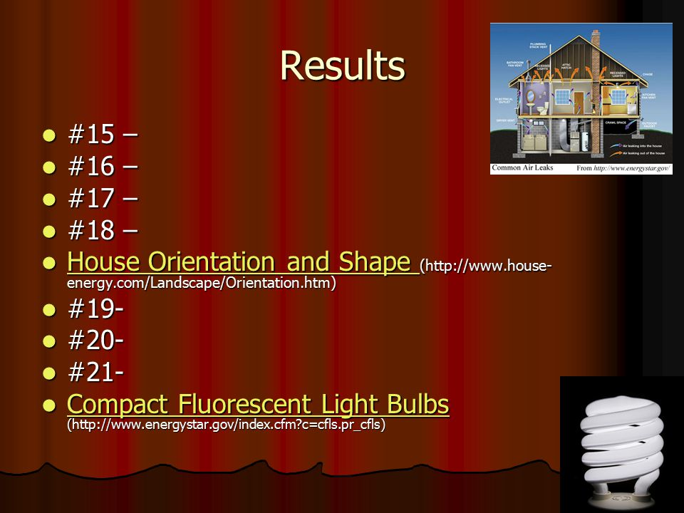 Results #15 – #16 – #17 – #18 – House Orientation and Shape (http://www.house-energy.com/Landscape/Orientation.htm)