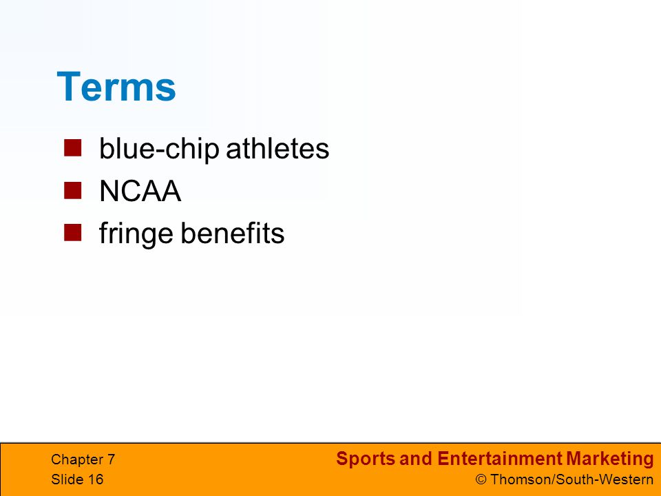 Terms blue-chip athletes NCAA fringe benefits Chapter 7