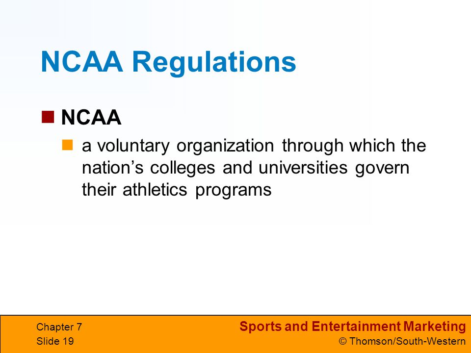NCAA Regulations NCAA. a voluntary organization through which the nation's colleges and universities govern their athletics programs.